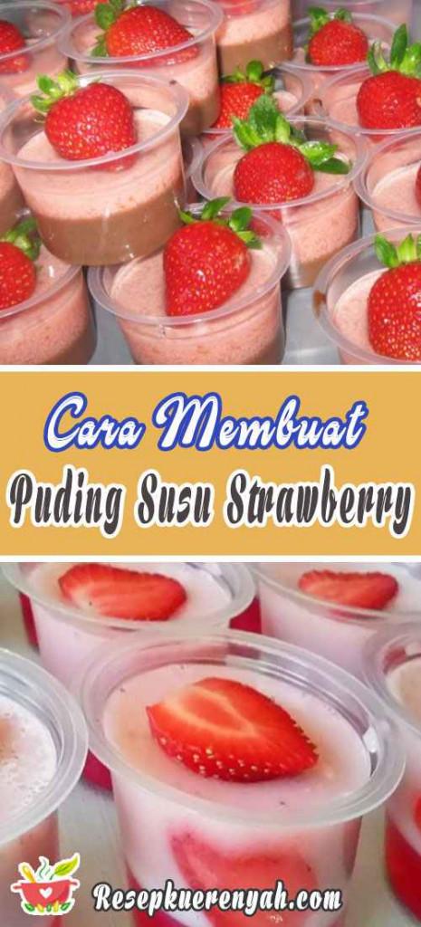 Cara Membuat Puding Susu Strawberry Lembut